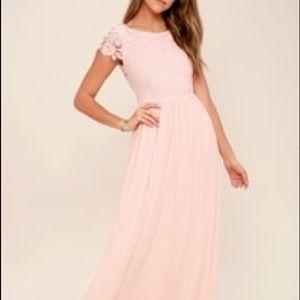 LuLu The Greatest Blush Pink Lace Maxi Dress